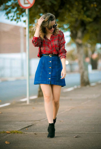 How to wear: black leather belt, black suede chelsea boots, blue denim button skirt, red plaid dress shirt
