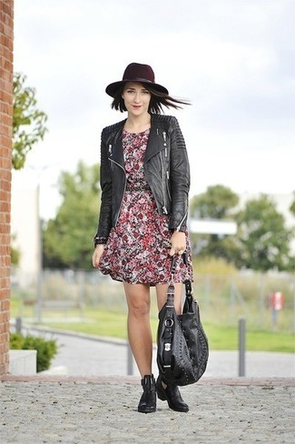 How to wear: black leather tote bag, black leather chelsea boots, red floral casual dress, black quilted leather biker jacket