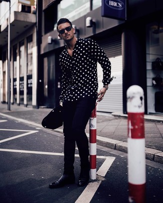 How to wear: black sunglasses, black leather chelsea boots, navy chinos, black and white polka dot long sleeve shirt