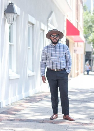 How to wear: brown wool hat, brown leather chelsea boots, charcoal dress pants, grey plaid dress shirt
