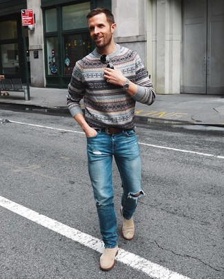 How to wear: dark brown leather belt, beige suede chelsea boots, blue ripped jeans, grey fair isle crew-neck sweater