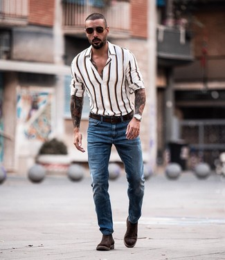 How to wear: dark brown leather belt, dark brown suede chelsea boots, blue jeans, white vertical striped long sleeve shirt