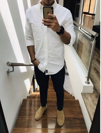How to Wear Beige Suede Chelsea Boots Smart Casually For Men: This combination of a white long sleeve shirt and black jeans looks awesome and instantly makes any gent look cool. Why not introduce beige suede chelsea boots to the equation for an added touch of style?
