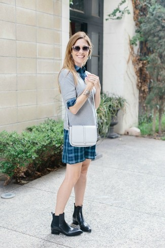 How to wear: white leather crossbody bag, black leather chelsea boots, teal plaid shirtdress, grey v-neck sweater