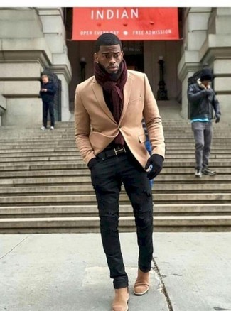 How to wear: burgundy scarf, tan suede chelsea boots, black ripped skinny jeans, tan wool blazer