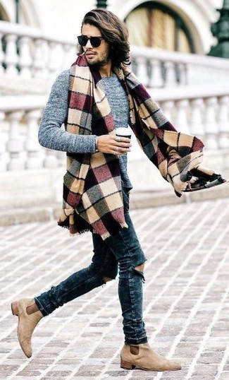 How to wear: multi colored plaid scarf, beige suede chelsea boots, navy ripped skinny jeans, grey crew-neck sweater