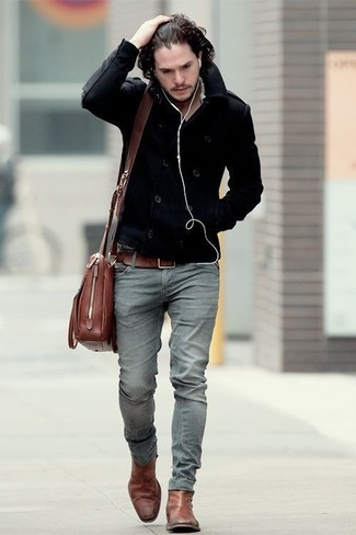 89f674aeb How to wear: brown leather messenger bag, brown leather chelsea boots, grey  skinny