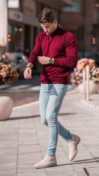 How to wear: black watch, beige suede chelsea boots, light blue skinny jeans, burgundy turtleneck