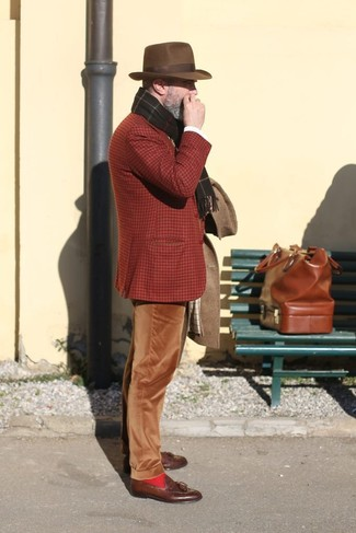 How to wear: brown leather tassel loafers, brown corduroy chinos, tobacco plaid wool blazer, brown overcoat