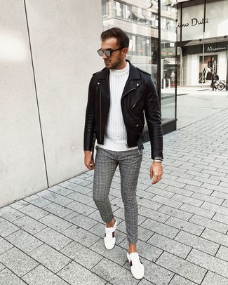 How to wear: white print leather low top sneakers, grey plaid chinos, white cable sweater, black leather biker jacket