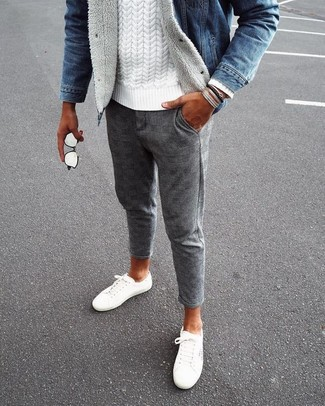 How to wear: white canvas low top sneakers, grey check wool chinos, white cable sweater, blue denim jacket
