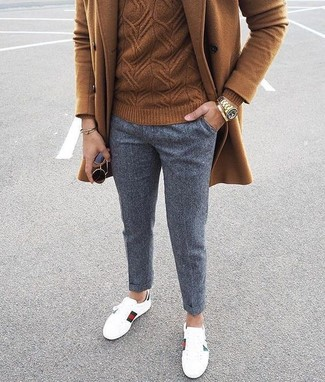 How to wear: white leather low top sneakers, grey wool chinos, brown cable sweater, brown overcoat