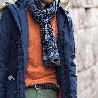 How to wear: navy print tie, olive chinos, orange cable sweater, navy parka