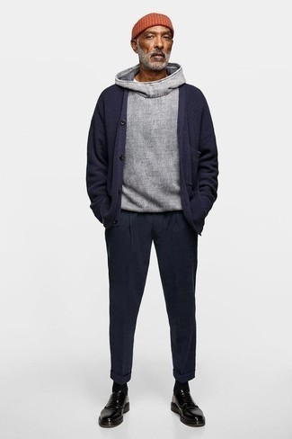 How to Wear a Grey Hoodie For Men: No matter where the day takes you, you'll be stylishly prepared in this casual pairing of a grey hoodie and navy wool chinos. To give your overall ensemble a more sophisticated feel, why not add a pair of black leather derby shoes to the mix?