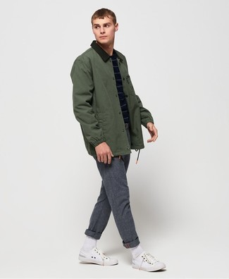 How to wear: white canvas low top sneakers, grey wool chinos, navy horizontal striped crew-neck sweater, dark green barn jacket