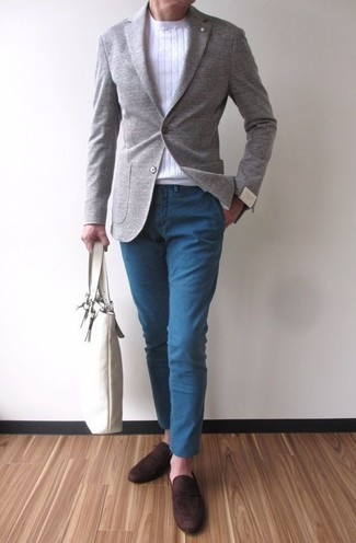 How to wear: dark brown suede loafers, blue chinos, white crew-neck sweater, grey wool blazer