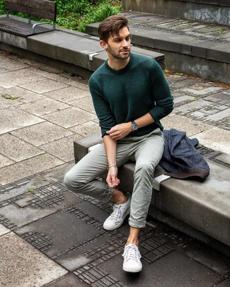 How to wear: white canvas low top sneakers, mint chinos, dark green crew-neck sweater, navy denim blazer