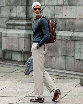 How to wear: dark brown leather loafers, beige chinos, navy crew-neck sweater, grey wool blazer