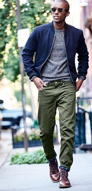 How to wear: brown leather casual boots, olive chinos, grey crew-neck sweater, navy wool bomber jacket