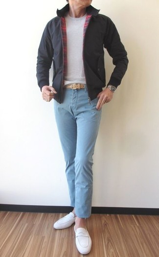 How to wear: white suede loafers, light blue chinos, grey crew-neck sweater, black bomber jacket