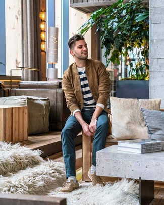 How to wear: tan suede low top sneakers, teal chinos, white and navy horizontal striped crew-neck sweater, tan suede bomber jacket