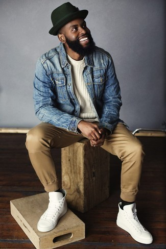 How to Wear a White Crew-neck Sweater For Men: To pull together an off-duty ensemble with a modern finish, reach for a white crew-neck sweater and khaki chinos. Why not finish off with white leather high top sneakers for an easy-going touch?