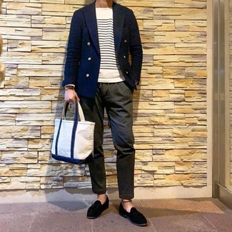 How to wear: black suede tassel loafers, olive chinos, white and navy horizontal striped crew-neck sweater, navy double breasted blazer