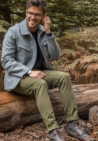 How to wear: dark brown leather casual boots, olive chinos, black crew-neck sweater, grey wool field jacket