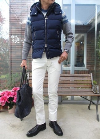 How to wear: black leather derby shoes, white chinos, grey fair isle crew-neck sweater, navy quilted gilet
