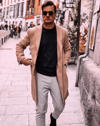 How to wear: black suede chelsea boots, grey chinos, black crew-neck sweater, camel overcoat