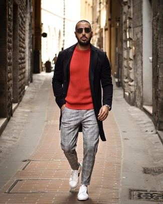 How to wear: white leather low top sneakers, grey plaid chinos, red crew-neck sweater, black overcoat
