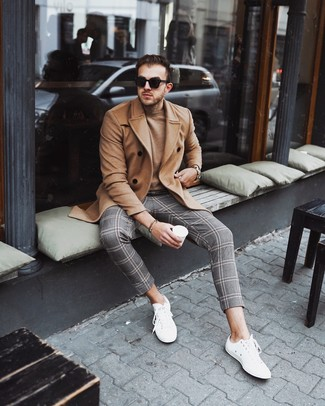 How to wear: white low top sneakers, grey plaid chinos, tan crew-neck sweater, camel overcoat