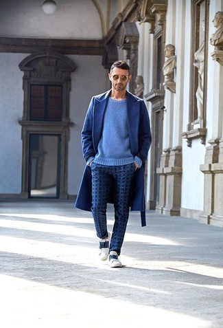 How to Wear Navy Print Chinos: For an ensemble that's absolutely wow-worthy, try pairing a blue overcoat with navy print chinos. For something more on the daring side to round off your ensemble, grab a pair of white and navy leather low top sneakers.