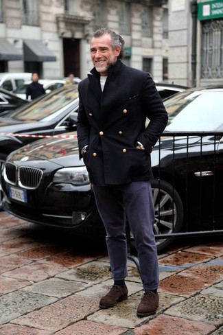 How to wear: dark brown suede oxford shoes, navy chinos, white crew-neck sweater, black pea coat