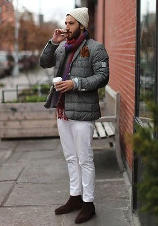 How to Wear a White Beanie For Men: This cool and casual look is super simple: a grey puffer jacket and a white beanie. Inject your ensemble with a touch of sophistication by sporting a pair of dark brown suede loafers.