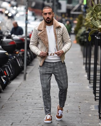 How to wear: tobacco suede low top sneakers, grey plaid chinos, white crew-neck sweater, beige shearling jacket