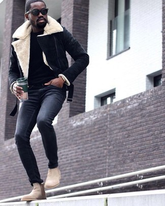 How to Wear Beige Suede Chelsea Boots Smart Casually For Men: The formula for relaxed casual style? A navy shearling jacket with charcoal chinos. Give a different twist to an otherwise standard getup by slipping into beige suede chelsea boots.