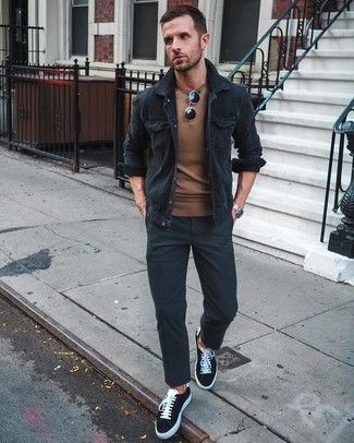 How to wear: black and white canvas low top sneakers, black chinos, brown crew-neck sweater, black corduroy shirt jacket