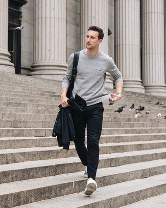 How to wear: grey low top sneakers, black chinos, grey crew-neck sweater, black shirt jacket
