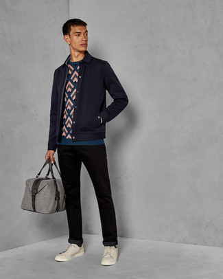 Men's Looks & Outfits: What To Wear In 2020: Try teaming a navy wool shirt jacket with black chinos if you're aiming for a neat, on-trend getup. Take an otherwise standard outfit a more laid-back path by sporting beige leather low top sneakers.