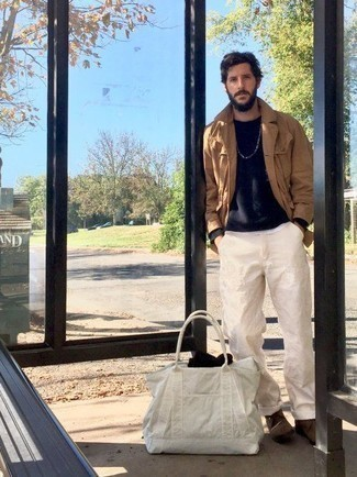 How to Wear a White Canvas Tote Bag For Men: For a cool and casual outfit, try pairing a tan shirt jacket with a white canvas tote bag — these two items play beautifully together. For maximum style, introduce a pair of brown suede desert boots to the equation.