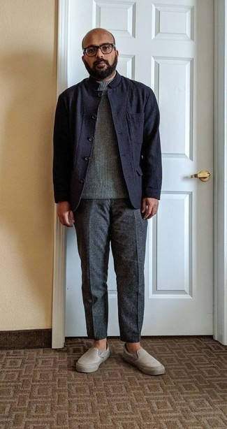 How to Wear a Navy Shirt Jacket For Men: Consider teaming a navy shirt jacket with charcoal chinos for a proper sophisticated look. Here's how to tone down this outfit: beige canvas slip-on sneakers.