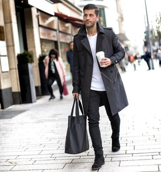 How to Wear a White Crew-neck Sweater For Men: This pairing of a white crew-neck sweater and black chinos resonates laid-back cool and stylish functionality. You could perhaps get a bit experimental with shoes and dress up this getup by sporting a pair of black suede chelsea boots.