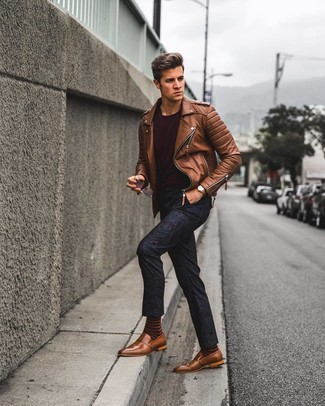 How to wear: brown leather loafers, navy floral chinos, burgundy crew-neck t-shirt, brown leather biker jacket