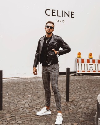 How to wear: white and black leather low top sneakers, grey plaid chinos, black crew-neck t-shirt, black leather biker jacket