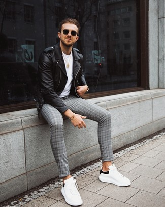 How to wear: white and black leather low top sneakers, grey plaid chinos, white crew-neck t-shirt, black leather biker jacket