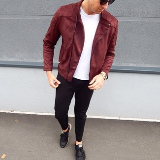 How to wear: black leather low top sneakers, black chinos, white crew-neck t-shirt, burgundy suede biker jacket