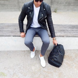 How to wear: white low top sneakers, grey chinos, white crew-neck t-shirt, black leather biker jacket