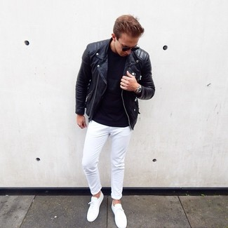 How to wear: white low top sneakers, white chinos, black crew-neck t-shirt, black leather biker jacket