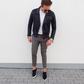 How to wear: black suede low top sneakers, grey wool chinos, white crew-neck t-shirt, black leather biker jacket